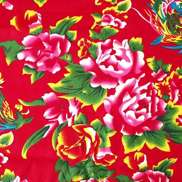 ベトナム 牡丹と鳳凰 カットオフ 幅約158/ 1m売り(レッド)【画像3】