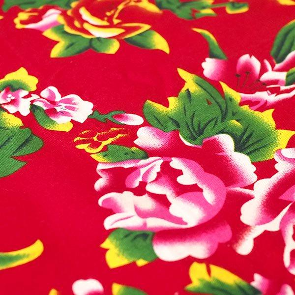 ベトナム 牡丹と鳳凰 カットオフ 幅約158/ 1m売り(レッド)【画像4】