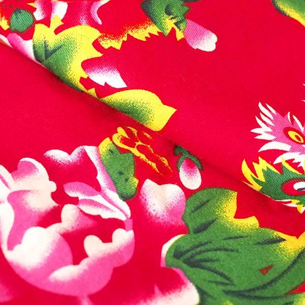 ベトナム 孔雀と牡丹 カットオフ 幅約158/ 1m売り(レッド)【画像5】