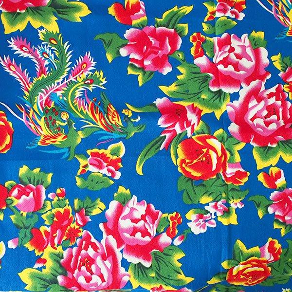 ベトナム 生地 牡丹と鳳凰 カットオフ 幅約158/ 1m売り(ブルー)
