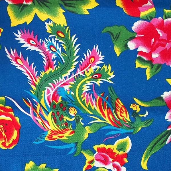 ベトナム 生地 牡丹と鳳凰 カットオフ 幅約158/ 1m売り(ブルー)【画像2】