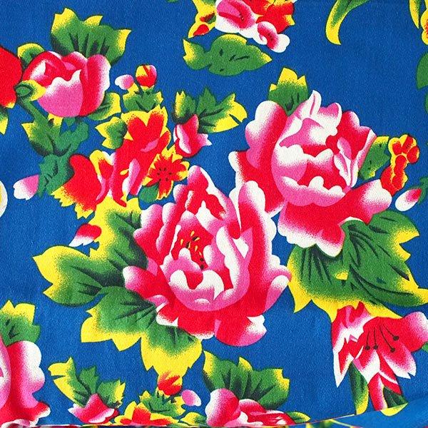 ベトナム 生地 牡丹と鳳凰 カットオフ 幅約158/ 1m売り(ブルー)【画像3】