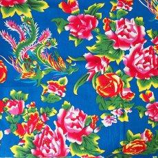 布 / 生地 ベトナム 孔雀と牡丹 カットオフ 幅約158/ 1m売り (ブルー)