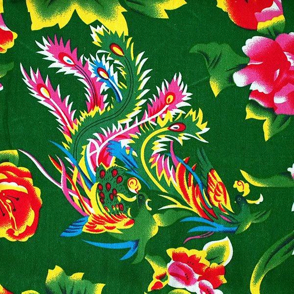 ベトナム 孔雀と牡丹 カットオフ 幅約158/ 1m売り(グリーン)【画像2】