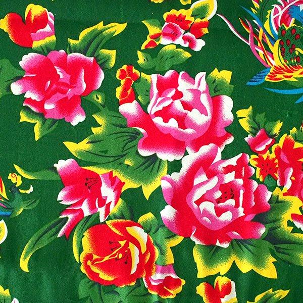 ベトナム 孔雀と牡丹 カットオフ 幅約158/ 1m売り(グリーン)【画像3】
