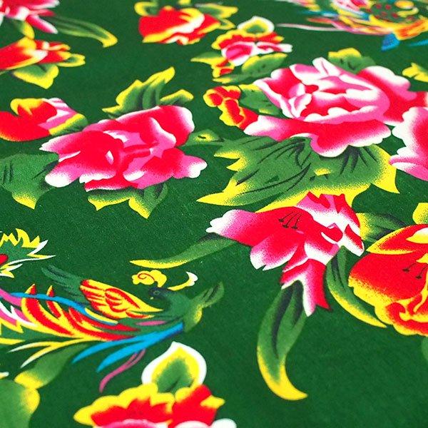 ベトナム 孔雀と牡丹 カットオフ 幅約158/ 1m売り(グリーン)【画像4】