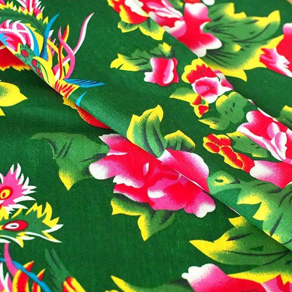 ベトナム 孔雀と牡丹 カットオフ 幅約158/ 1m売り(グリーン)【画像5】