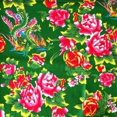 ベトナム 生地 牡丹と鳳凰 カットオフ 幅約158/ 1m売り(グリーン)