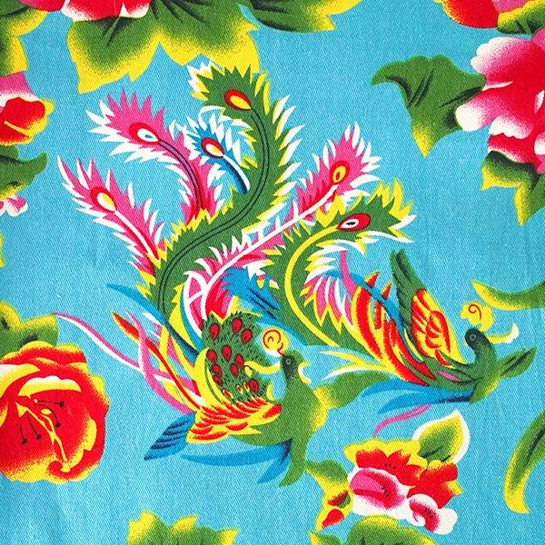ベトナム 孔雀と牡丹 カットオフ 幅約158/ 1m売り(ミズイロ)【画像2】
