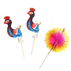 トリ (鳥) 雑貨 ベトナム ピーコック(孔雀) ピック(3本セット)