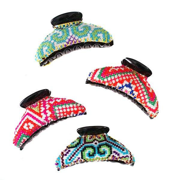 タイ モン族 刺繍 ヘアクリップ