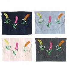 ベトナム  花 刺繍 ポケットティッシュケース(4色)
