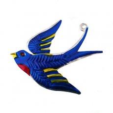 トリ (鳥) 雑貨 メキシコ ブリキ オーナメント(ツバメ)