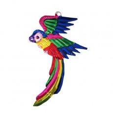 トリ (鳥) 雑貨 メキシコ ブリキ オーナメント(オウム A)