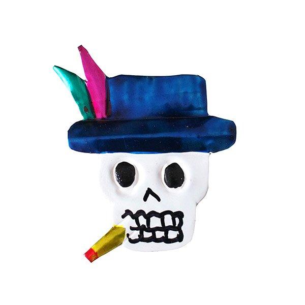 メキシコ ブリキ マグネット(スカル 帽子)