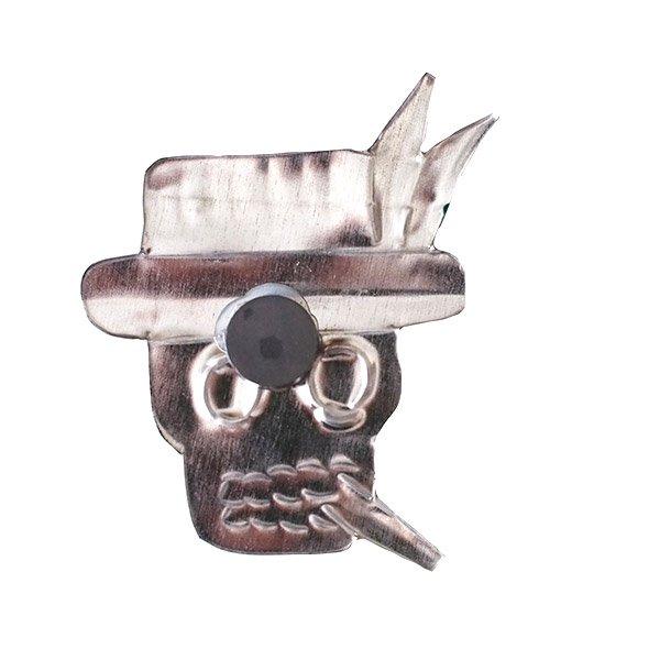 メキシコ ブリキ マグネット(スカル 帽子)【画像2】