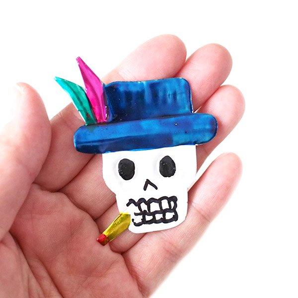 メキシコ ブリキ マグネット(スカル 帽子)【画像3】