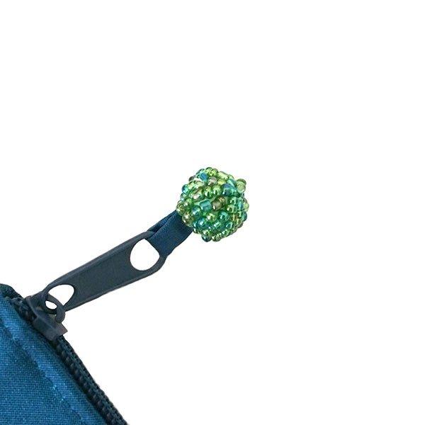 ベトナム 蓮の花(ロータス)刺繍 ポーチ(ビーズ付き ブルーグリーン)【画像7】