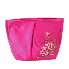 ベトナム刺繍ポーチ・巾着 ベトナム 蓮の花(ロータス) 刺繍 ポーチ(ピンク)