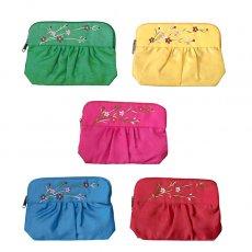 ベトナム 刺繍 ベトナム 花 刺繍 ポーチ(5色)
