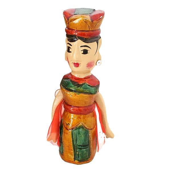 ベトナム 水上人形劇 木の人形(マントを広げる女性   小)