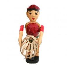 ベトナムの手仕事 ベトナム 水上人形劇 木の人形(カゴを持つ人  小)
