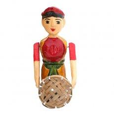 ベトナムの手仕事 ベトナム 水上人形劇 木の人形(丸いザルを持つ人  小)