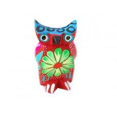 トリ (鳥) 雑貨 メキシコ ウッドカービング アレブリヘス(フクロウ レッド)