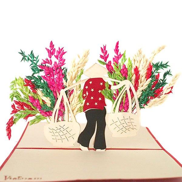 ベトナム 切り絵 ポップアップカード(天秤棒 女の子 15×10)【画像2】