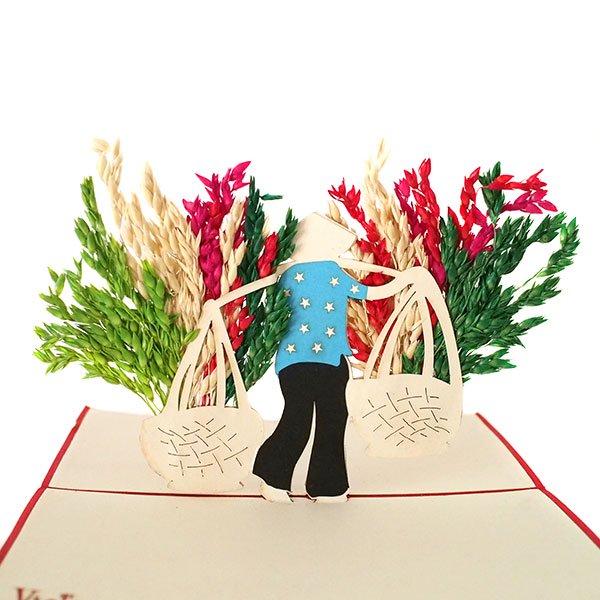 ベトナム 切り絵 ポップアップカード(天秤棒 女の子 15×10)【画像3】