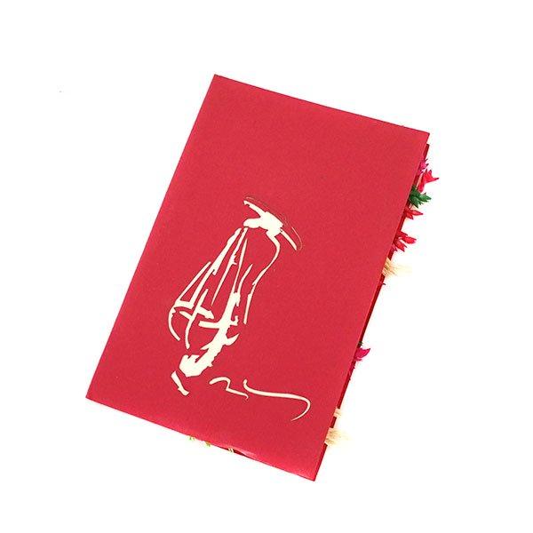 ベトナム 切り絵 ポップアップカード(天秤棒 女の子 15×10)【画像5】