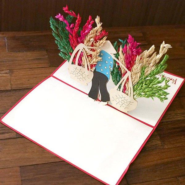 ベトナム 切り絵 ポップアップカード(天秤棒 女の子 15×10)【画像6】