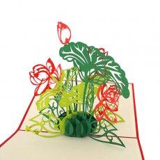 ベトナム 切り絵 ポップアップカード (ロータス 蓮の花 12×12)