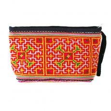 ベトナム 少数民族 モン族 刺繍 ポーチ(マチあり イエロー)/ 民族 刺繍 / ベトナム直輸入
