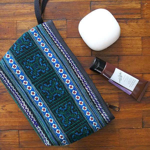 ベトナム モン族 刺繍 ポーチ(グリーン マチ付き)【画像7】