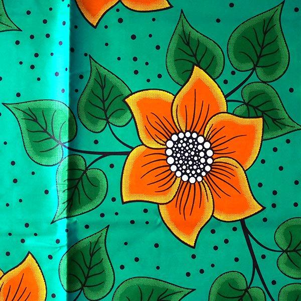 アフリカン プリント布 パーニュ 115×90 カットオフ(グリーン 花 オレンジ)【画像2】
