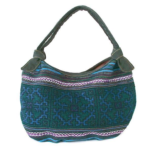 ベトナム 少数民族 モン族 刺繍  バッグ(ブルーグリーン系)