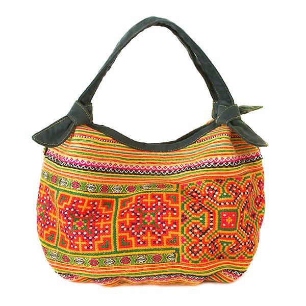 ベトナム 少数民族 モン族 刺繍  トートバッグ(オレンジ系)
