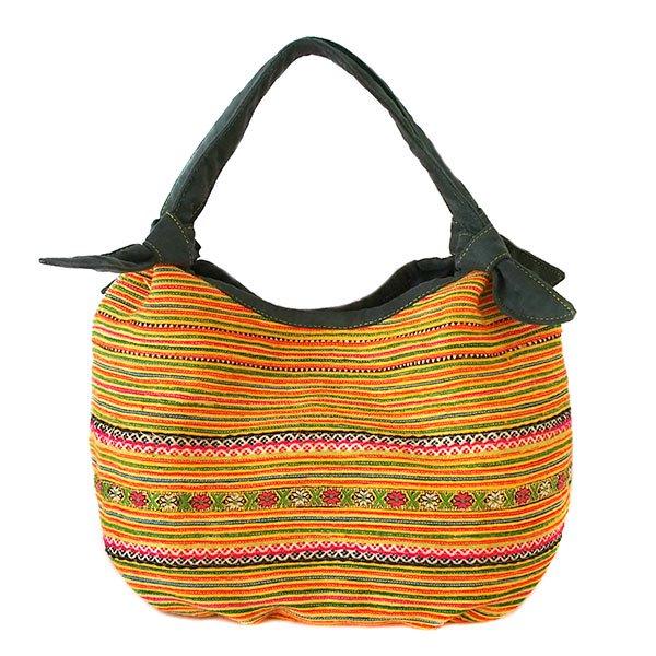 ベトナム 少数民族 モン族 刺繍  トートバッグ(オレンジ系)【画像3】