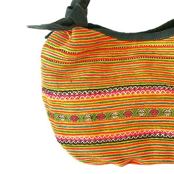 ベトナム 少数民族 モン族 刺繍  トートバッグ(オレンジ系)【画像4】