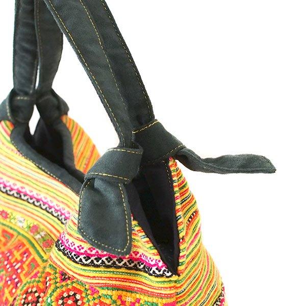 ベトナム 少数民族 モン族 刺繍  トートバッグ(オレンジ系)【画像5】