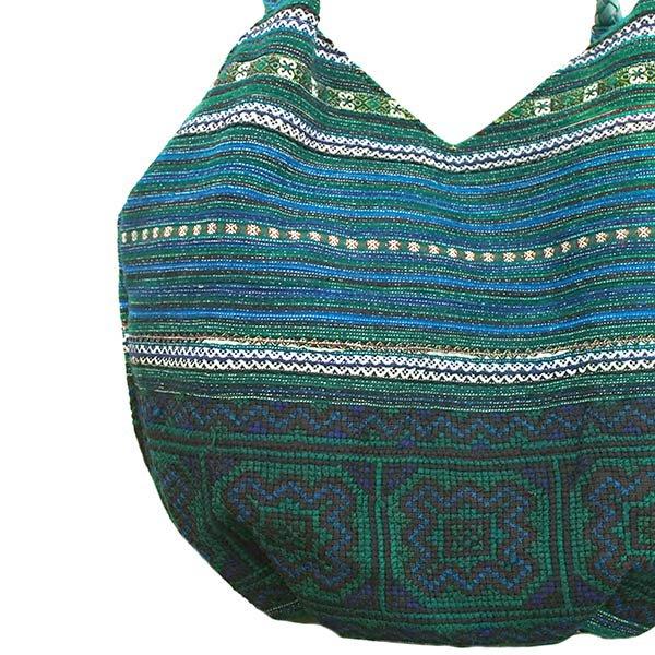 ベトナム 少数民族 モン族刺繍  ショルダーバッグ(ブルーグリーン)【画像2】