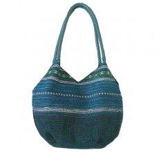 ベトナム 少数民族 モン族刺繍  ショルダーバッグ(ブルーグリーン)