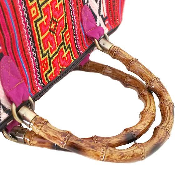 【送料無料】ベトナム 少数民族 モン族刺繍  バッグ(大 レッド)【画像6】