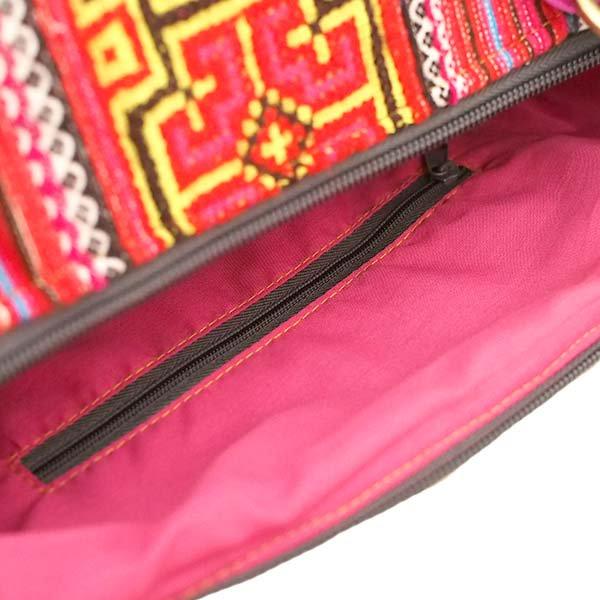 【送料無料】ベトナム 少数民族 モン族刺繍  バッグ(大 レッド)【画像7】
