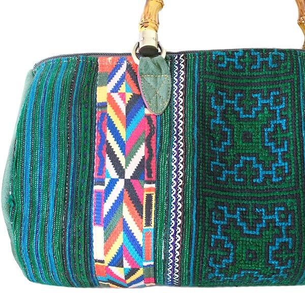 【送料無料】ベトナム 少数民族 モン族刺繍  バッグ(大 グリーン)【画像2】