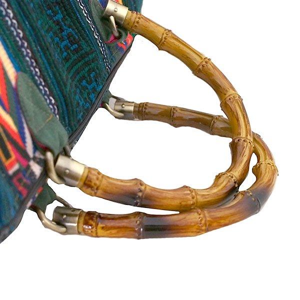 【送料無料】ベトナム 少数民族 モン族刺繍  バッグ(大 グリーン)【画像6】