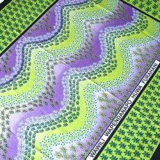 アフリカ ケニア カンガ プリント布 110x150(波型と小花 グリーン 日本語訳不明)