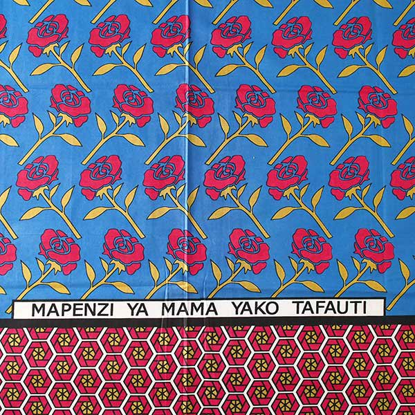 アフリカ ケニア カンガ プリント布 110x150(薔薇 ブルー 日本語訳不明)【画像2】
