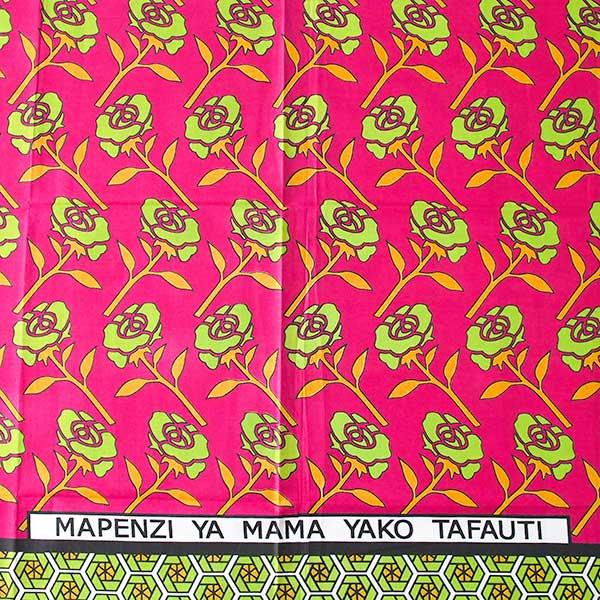 アフリカ ケニア カンガ プリント布 110x150(薔薇 ピンク 日本語訳不明)【画像2】